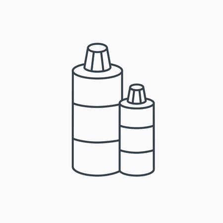 shampoo bottles: Shampoo bottles icon. Liquid soap sign. Linear outline icon on white background. Vector