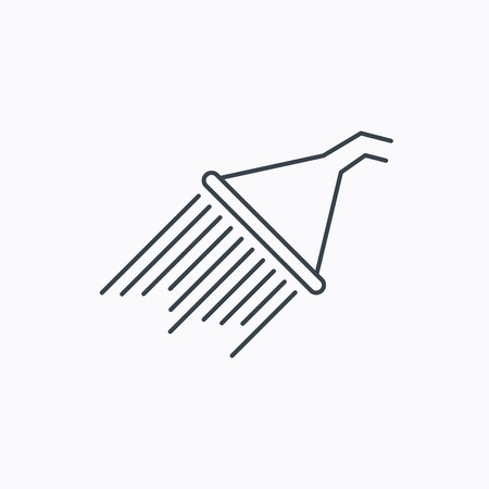 Shower icon. Washing equipment sign. Linear outline icon on white background. Vector  イラスト・ベクター素材