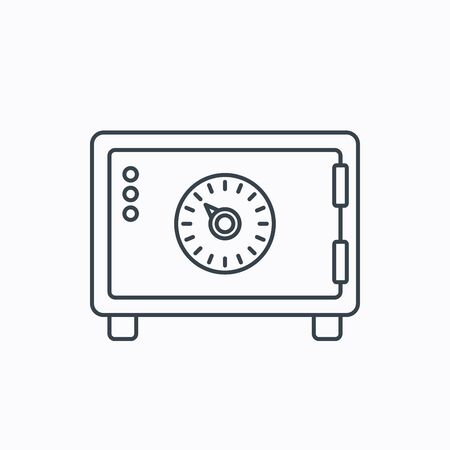 combination safe: Safe icon. Money deposit sign. Combination lock symbol. Linear outline icon on white background. Vector