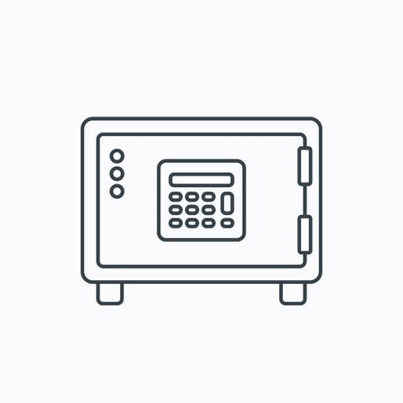 combination lock: Safe icon. Money deposit sign. Combination lock symbol. Linear outline icon on white background. Vector