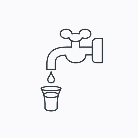 waterworks: Save water icon. Crane or Faucet with drop sign. Linear outline icon on white background. Vector