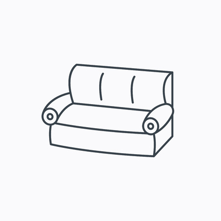 comfortable: Sofa icon. Comfortable couch sign. Furniture symbol. Linear outline icon on white background. Vector