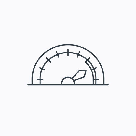 tachometer: Speedometer icon. Speed tachometer with arrow sign. Linear outline icon on white background. Vector