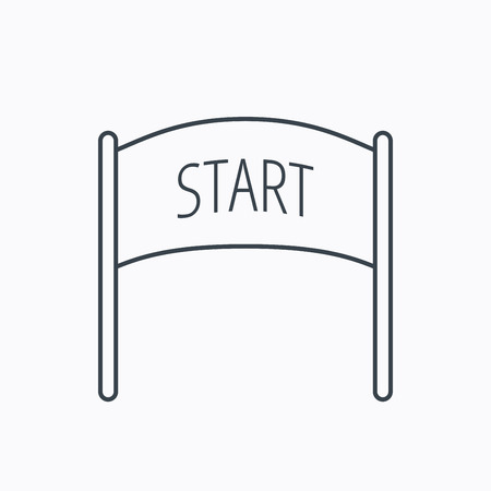 checkpoint: Start banner icon. Marathon checkpoint sign. Linear outline icon on white background. Vector