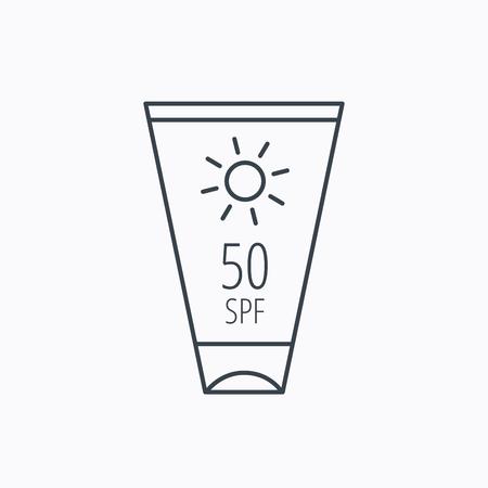 sun lotion: Dom icono de contenedor crema. Signo loci�n Beach. Icono de contorno lineal sobre fondo blanco. Vector Vectores