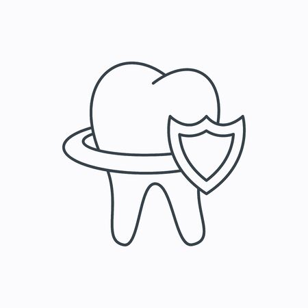 stomatologist: Tooth protection icon. Dental shield sign. Linear outline icon on white background. Vector