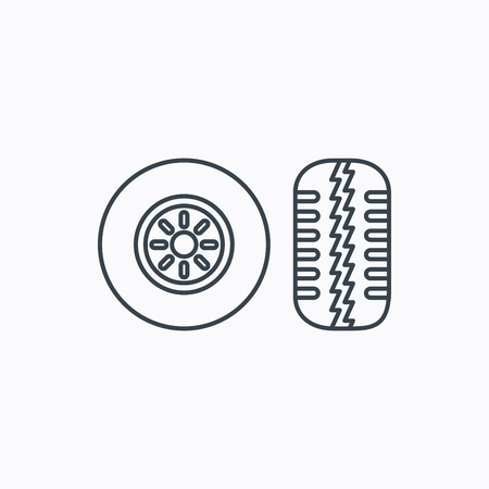 tread: Tire tread icon. Car wheel sign. Linear outline icon on white background. Vector Illustration