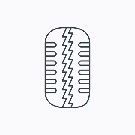 flaring: Tire tread icon. Car wheel sign. Linear outline icon on white background. Vector Illustration