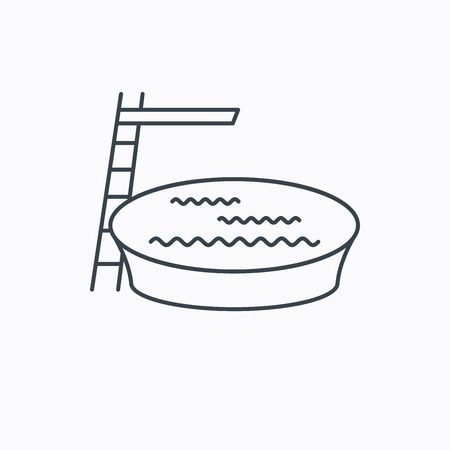 jumping into water: Swimming pool icon. Jumping into water sign. Linear outline icon on white background. Vector