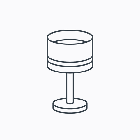 lamp outline: Table lamp icon. Desk light sign. Linear outline icon on white background. Vector
