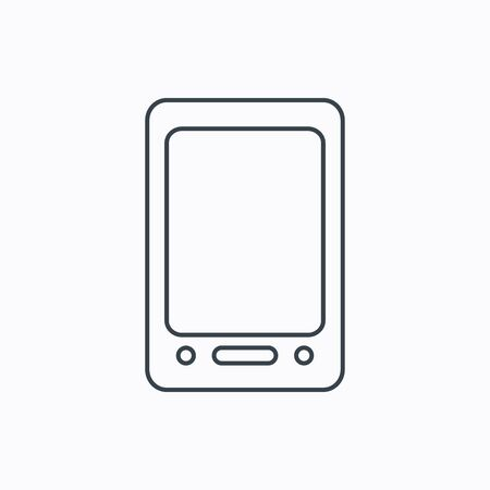palmtop: Tablet PC icon. Touchscreen pad sign. Linear outline icon on white background. Vector