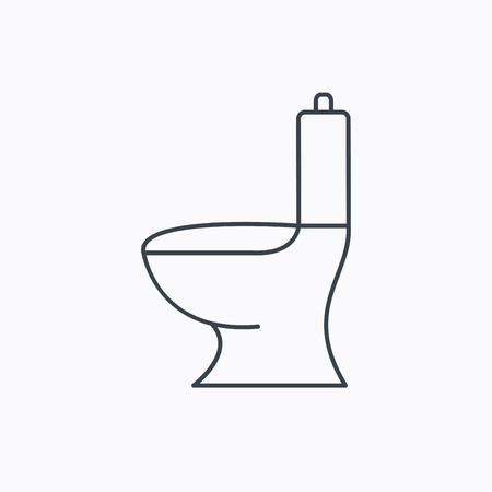 wc: Toilet icon. Public WC sign. Linear outline icon on white background. Vector Illustration