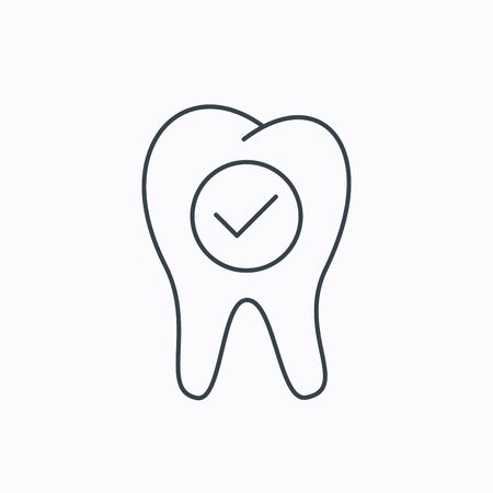 stomatology: Check tooth icon. Stomatology sign. Dental care symbol. Linear outline icon on white background. Vector Illustration