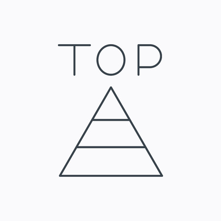 best result: Triangle icon. Top or best result sign. Success symbol. Linear outline icon on white background. Vector