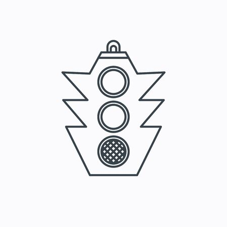 regulate: Traffic light icon. Safety direction regulate sign. Linear outline icon on white background. Vector Illustration
