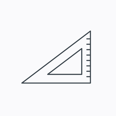 straightedge: Triangular ruler icon. Straightedge sign. Geometric symbol. Linear outline icon on white background. Vector