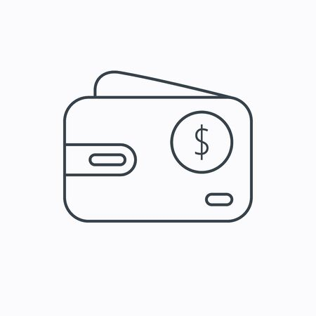 usd: Dollar wallet icon. USD cash money bag sign. Linear outline icon on white background. Vector Illustration