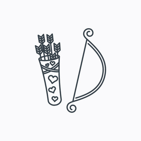 amour: Amour arrows with bow icon. Cupid love symbol. Linear outline icon on white background. Vector