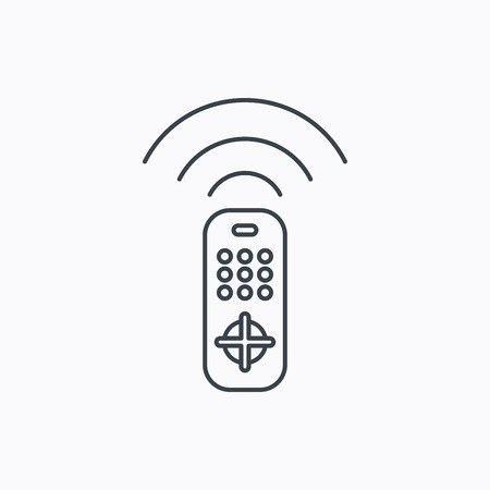 channels: Remote control icon. TV switching channels sign. Linear outline icon on white background. Vector Illustration
