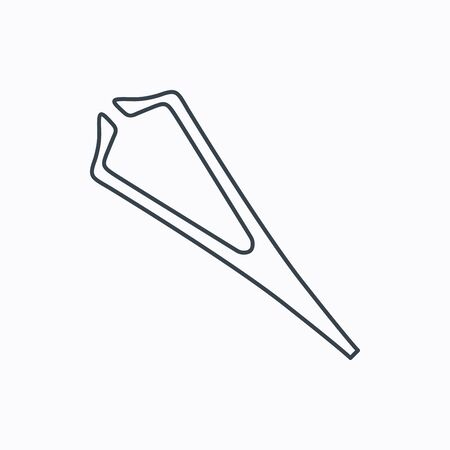 tweezer: Medical tweezers icon. Cosmetic equipment sign. Linear outline icon on white background. Vector Illustration