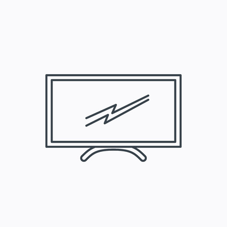 lcd display: Lcd tv icon. Led monitor sign. Widescreen display symbol. Linear outline icon on white background. Vector