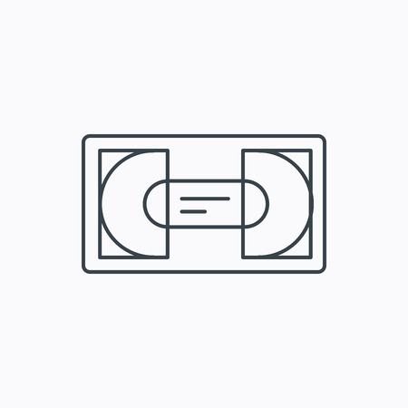 vcr: Video cassette icon. VHS tape sign. Linear outline icon on white background. Vector