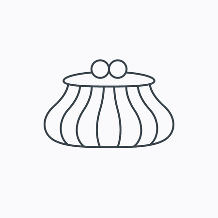 cash money: Vintage wallet icon. Cash money bag sign. Linear outline icon on white background. Vector Vectores