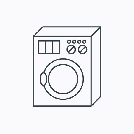 washer machine: Washing machine icon. Washer sign. Linear outline icon on white background. Vector