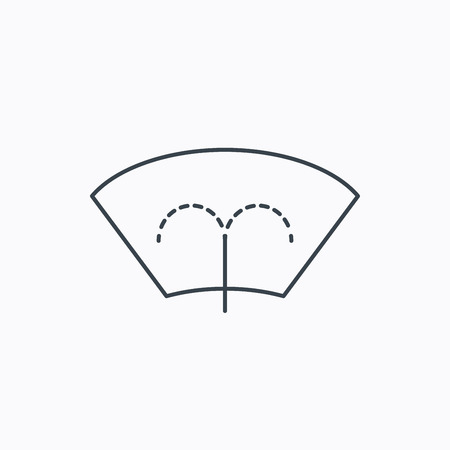 windscreen: Washing window icon. Windshield cleaning sign. Linear outline icon on white background. Vector Illustration