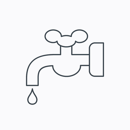waterworks: Water supply icon. Crane or Faucet with drop sign. Linear outline icon on white background. Vector Illustration