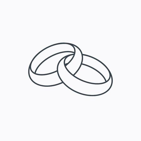 결혼 반지 아이콘입니다. 신부와 신랑 보석 기호입니다. 흰색 배경에 선형 개요 아이콘입니다. 벡터 일러스트
