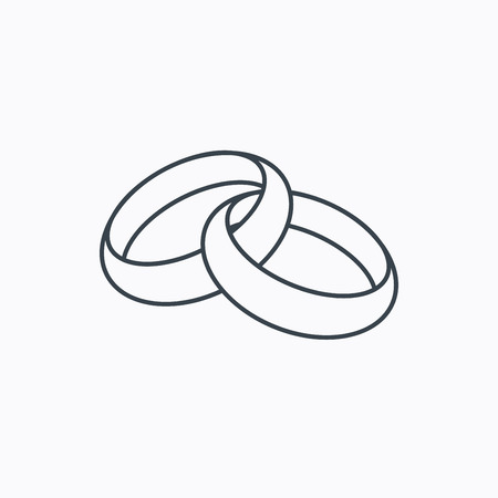 Wedding rings icon. Bride and groom jewelery sign. Linear outline icon on white background. Vector Vectores