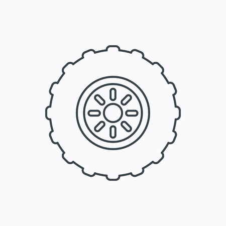flaring: Tractor wheel icon. Tire service sign. Linear outline icon on white background. Vector Illustration