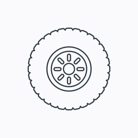 wheel change: Car wheel icon. Tire service sign. Linear outline icon on white background. Vector