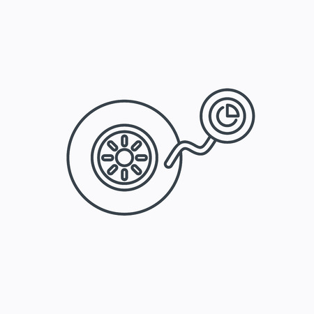 tire change: Wheel pressure icon. Tire service sign. Linear outline icon on white background. Vector Illustration