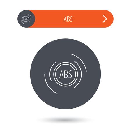 abs: ABS icon. Brakes antilock system sign. Gray flat circle button. Orange button with arrow. Vector