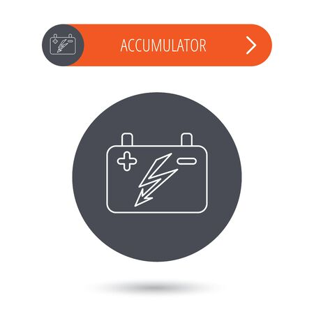 emitter: Accumulator icon. Electrical battery sign. Gray flat circle button. Orange button with arrow. Vector Illustration