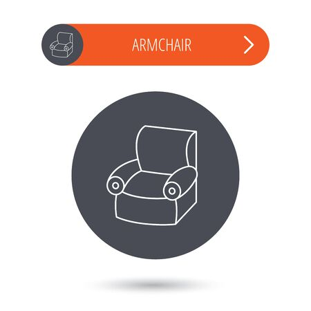 comfortable: Armchair icon. Comfortable furniture sign. Gray flat circle button. Orange button with arrow. Vector Illustration