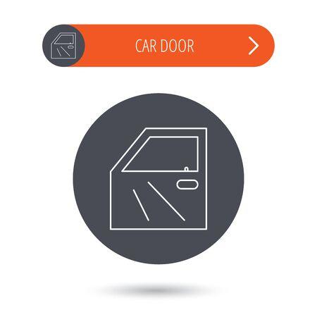 overhaul: Car door icon. Automobile lock sign. Gray flat circle button. Orange button with arrow. Vector