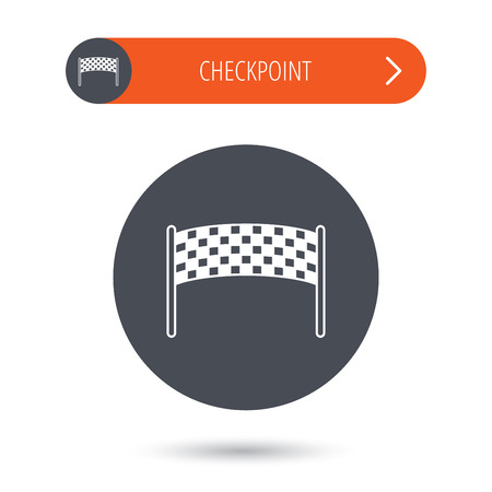 checkpoint: Finishing checkpoint icon. Marathon banner sign. Gray flat circle button. Orange button with arrow. Vector