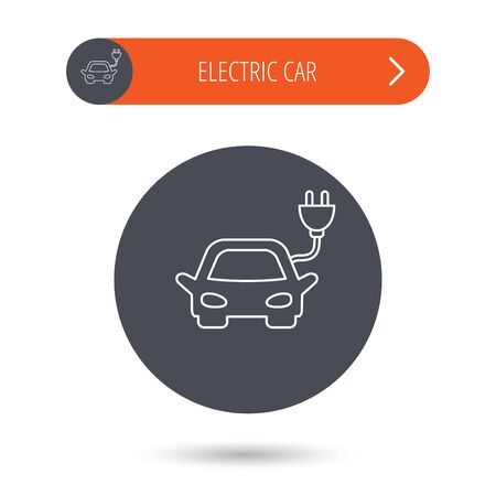 hybrid: Electric car icon. Hybrid auto transport sign. Gray flat circle button. Orange button with arrow. Vector