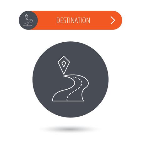 Destination pointer icon. Road location sign. Gray flat circle button. Orange button with arrow. Vector Illustration