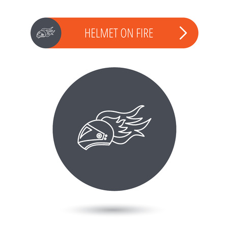 harley: Helmet on fire icon. Motorcycle sport sign. Gray flat circle button. Orange button with arrow. Vector