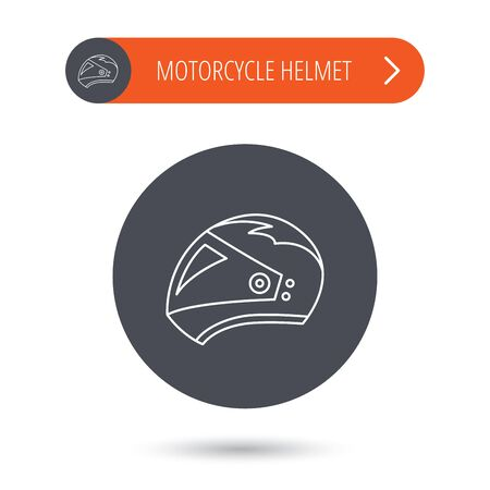 harley: Motorcycle helmet icon. Biking sport sign. Gray flat circle button. Orange button with arrow. Vector