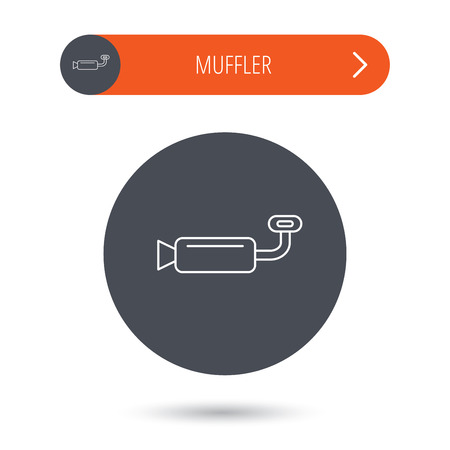 tailpipe: Muffer icon. Car fuel pipe or exhaust sign. Gray flat circle button. Orange button with arrow. Vector Illustration