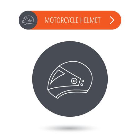 motorradhelm: Motorrad-Helm-Symbol. Biking Sport-Zeichen. Grau Flach Kreis-Taste. Orangefarbenen Button mit Pfeil. Vector