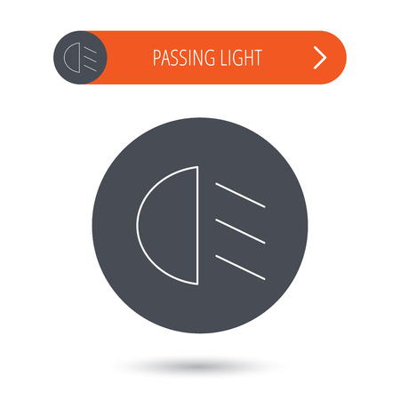 dipped: Passing light icon. Dipped beam sign. Gray flat circle button. Orange button with arrow. Vector