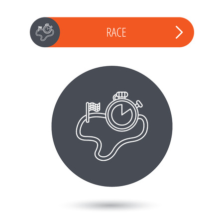 sports icon: Race road icon. Finishing flag with timer sign. Gray flat circle button. Orange button with arrow. Vector Illustration