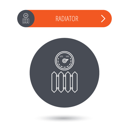 regulator: Radiator with regulator icon. Heater sign. Maximum temperature. Gray flat circle button. Orange button with arrow. Vector Illustration