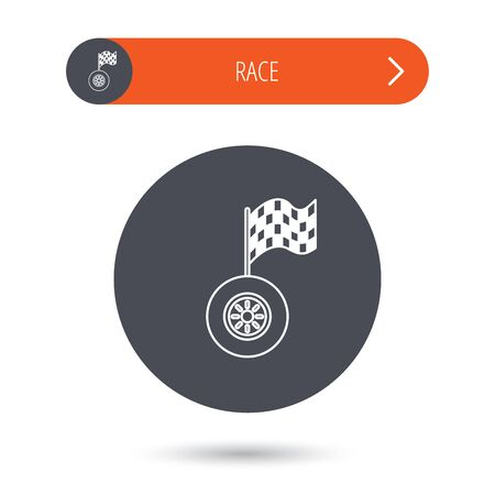 racing sign: Race icon. Wheel with racing flag sign. Gray flat circle button. Orange button with arrow. Vector Illustration
